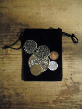 3 pirate gold play doubloons in a suede bag plus bonus of 3 world coins