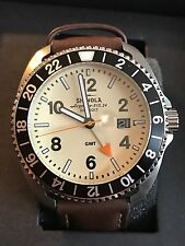 New $750 Shinola Rambler GMT Bezel Leather/Stainless Swiss Watch 44mm/Cream Face
