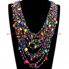 Fashion Gray Cotton Rope Chain Colorized Resin Beads Cluster Choker Bib Necklace