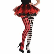 Womens Ladies Freak Show Circus Harlequin Tights Halloween Horror Fancy Dress UK
