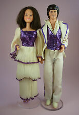 DONNY & MARIE OSMOND DOLLS - 1976 - IN COMPLETE DEEPEST PURPLE OUTFITS