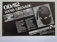 12/88 PUB LA PRECISA TEANO ITALIA GRENADE A MAIN HAND GRENADE OD/82 ORIGINAL AD