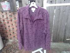 Christopher & Banks Womens XL Mauve/flowers Moleskin Jacket Shirt w/Zipper