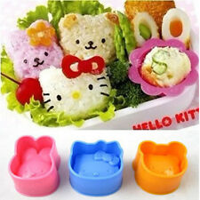 Bear Rabbit Hello Kitty Mould Cutter Set Shaper Sushi RiceRoll cookie Cake Mold