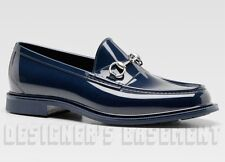 GUCCI mens 11G* Navy shiny Rubber JELLIES metal HORSEBIT loafers shoes NIB Auth