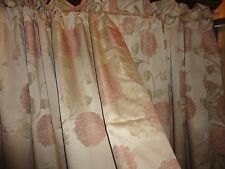 WATERFORD FLORAL MEDALLION NEUTRAL ROSE (PAIR) LINED DRAPERY PANELS 50 X 84