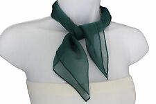 Women Fashion Neck Scarf Dark Green Color Small Soft Fabric Square Pocket Sheer