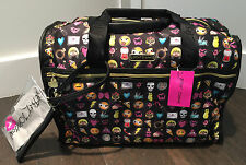 NWT Betsey Johnson Emoji Face Heart Bow Betsey Con Weekender travel Bag black