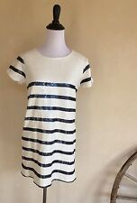 ZARA Trafaluc Super Cute Pearl White Navy Blue Sequined Lined Nautical Sz M NWT!