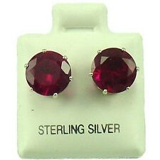 Sterling Silver - 9mm Round CZ Simulated Ruby Stud Earrings (SE223)