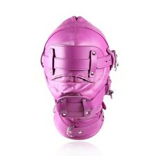NEW Rosy Faux Leather Bondage Hood Mouth Gag Blindfold BDSM Full Head Mask