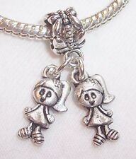 Little Girls Sisters Twins Babies Dangle Bead for Silver European Charm Bracelet