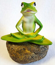 Frog Garden Statue Lawn Ornament Sitting On Rock Zen Meditation Yoga Pose 5""