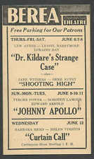 1940 BEREA THEATRE OH DR KILDARE STRANGE CASE L AYRES & L BARRYMORE SEE INFO