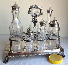Cruet Set Antique Silverplate Caddy w/ Handle Mouth-Blown Glass 7 Bottles