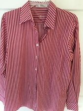 Foxcroft Red Striped Long Sleeve Blouse Shirt Women's Size 8 Wrinkle Free