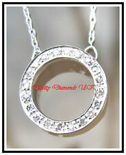 BEAUTIFUL DIAMOND CIRCLE PENDANT WHITE GOLD SPARKLING!!