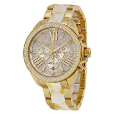MK6157 - New Michael Kors Wren Gold Tone Crystal Chronograph Women's Watch