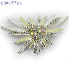"""NEW 3"""" LARGE SILVER FLOWER STAR DIAMANTE CRYSTAL BROOCH MODERN PARTY BROACH UK"""