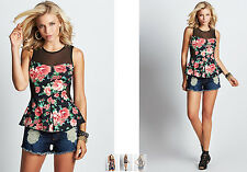 NWT GUESS SLEEVELESS FLORAL PRINT PEPLUM TOP Size Small S Black & Pink Roses