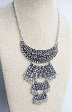 Silver Tibet Indian Vintage Style Bohemian Mexican Gypsy Tassel Necklace