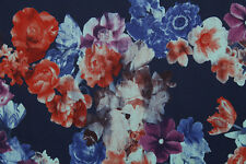Floating Floral Print Heavy Satin Dress Fabric Material (Blue)