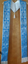 Blue Advent Clergy Stole Liturgical Vestment Brocade Celtic Knot Beautiful