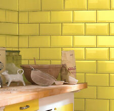 Metro 20x10cm Yellow Gloss Bevelled Edge Tiles(1 Box/SQM 50 Tiles Per Box)