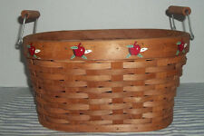 Woven Wooden Basket Apples Handles