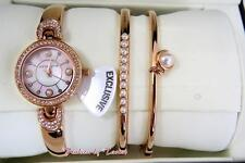 New ANNE KLEIN Women's Rosegold-Tone Bangle Bracelet Watch & Bracelets Set
