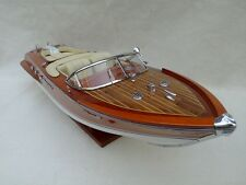 "Riva Aquarama 20"" Cream Wood Model Boat L50 Handmade Italian Speed Boat"