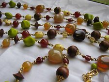 "JOAN RIVERS MULTI COLOR CZECH GLASS BEAD NECKLACE 105"" Sautior Chartreuse Opal"