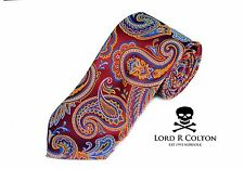 Lord R Colton Masterworks Tie - Ravello Carnival Red Paisley Silk Necktie - New