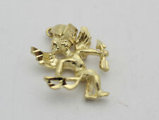 14k Yellow Gold YG Winged Angel Bow Arrow Cupid Pendant Charm 2.1g GG59