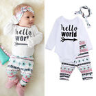 3Pcs Casual Newborn Baby Girl Boy Infant Outfit Set Romper T-shirt+Pants Clothes