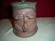 "1971 VINTAGE POTTERY SIGNED STONEWARE MUSTACHE ""MUG FACE"" MUG - GOOD CONDITION!"