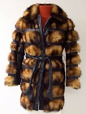 Vtg 60s Womens Brown Leather Mink Fur Coat SZ M Made in USA