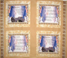 "Angel  Religious Fabric ~ 100% Cotton 36"" Panel ~ Amazing Grace Hymn Lyrics"