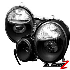 CRYSTAL BLACK 1996-1999 MERCEDES BENZ W210 E-CLASS HEADLIGHTS SET