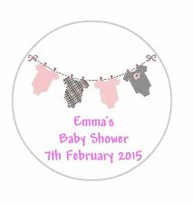 24 Personalised Round Baby Shower Stickers Labels Pink Bunting