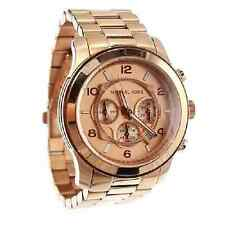 MICHAEL KORS MK8096 RUNWAY Rose Gold Oversized Chronograph Women Watch 45mm