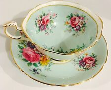 Vintage Paragon Fine Bone China Pale Green Rose Floral Gold Trim Cup & Saucer
