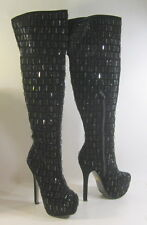 "New Black Rhinestone 5.5""Stiletto high heel 2"" platform sexy knee  boot  Size  7"