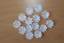 15 HAND MADE WHITE SHIMMER 3D FLOWERS. CARD TOPPERS, WEDDING STATIONERY