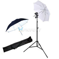 Photo Photagraphy Studio Light Stand White Black 2 Umbrellas Flash Mount Set Kit
