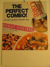 "DIET COKE & WEIGHT WATCHERS ""THE PERFECT COMBO"" SIGN 18"" x 26""   NEW OLD STOCK"