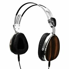 Aviator Style Headphones with In-Line Microphone - Genuine Ebony Wood