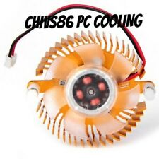 2 Pin 55mm 5.5cm Round Gold Plate Graphics VGA Video Card Cooling Fan & Heatsink
