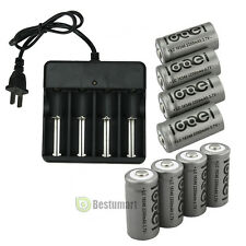 8PCS CR123A 123A CR123 16340 2200Mah Rechargeable Battery BTY Black + UL Charger