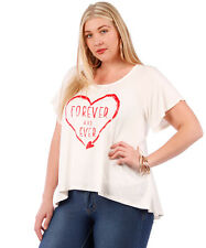 NWT! WOMEN'S PLUS SIZE CLOTHING WHITE T-SHIRT WITH HEART DETAIL STYLE BLOUSE 5X